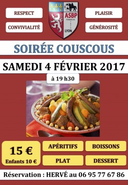 Soirée COUSCOUS - SAMEDI 4 FÉVRIER 2017