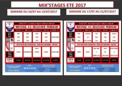 MIX'STAGES ETE 2017: Du Lundi 10/07 au Jeudi 13/07 et Du Lundi 17/07 au 21/07