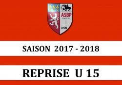 Reprise des U15 : Jeudi 17 août 2017 à 17h45