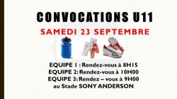 CONVOCATIONS U11 DU SAMEDI 23/09/2017
