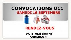 CONVOCATIONS U11 DU SAMEDI 16/09/2017