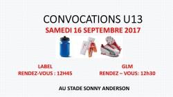 CONVOCATIONS U13 DU SAMEDI 16/09/2017