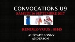 CONVOCATIONS U9 DU SAMEDI 16/09/2017