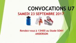 CONVOCATIONS U7 DU SAMEDI 23/09/2017