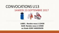 CONVOCATIONS U13 DU SAMEDI 23/09/2017