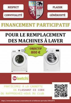 NOUVELLE CAMPAGNE DE FINANCEMENT PARTICIPATIF : AIDER LE CLUB À ASSUMER LE REMPLACEMENT DE SES MACHINES À LAVER !