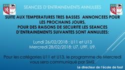 SEANCES D'ENTRAINEMENTS ANNULEES