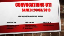 CONVOCATIONS U11 DU 24/03/2018