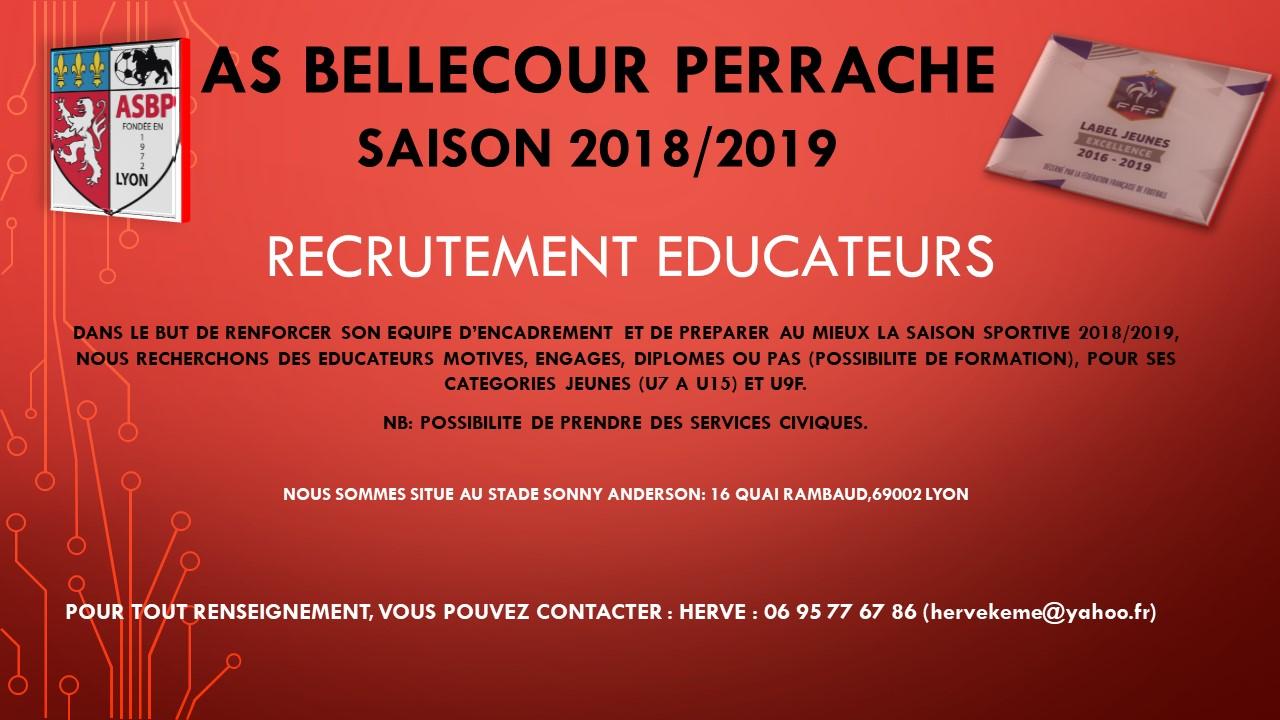L'ASBP recrute des éducateurs pour la saison 2018-2019!