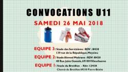 CONVOCATION U11 DU SAMEDI 26/05/2018