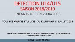 DÉTECTION U14/U15  SAISON 2018/2019