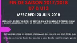 FIN DE SAISON POUR LES U7, U9, U11 et U13.