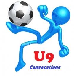 CONVOCATIONS U9 DU SAMEDI 20 OCTOBRE 2018