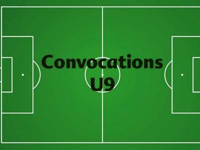 CONVOCATIONS U9 DU SAMEDI 06 OCTOBRE 2018