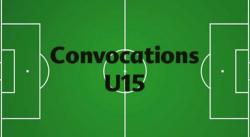 CONVOCATIONS U15 DU SAMEDI 9 ET DIMANCHE 10 FÉVRIER 2019