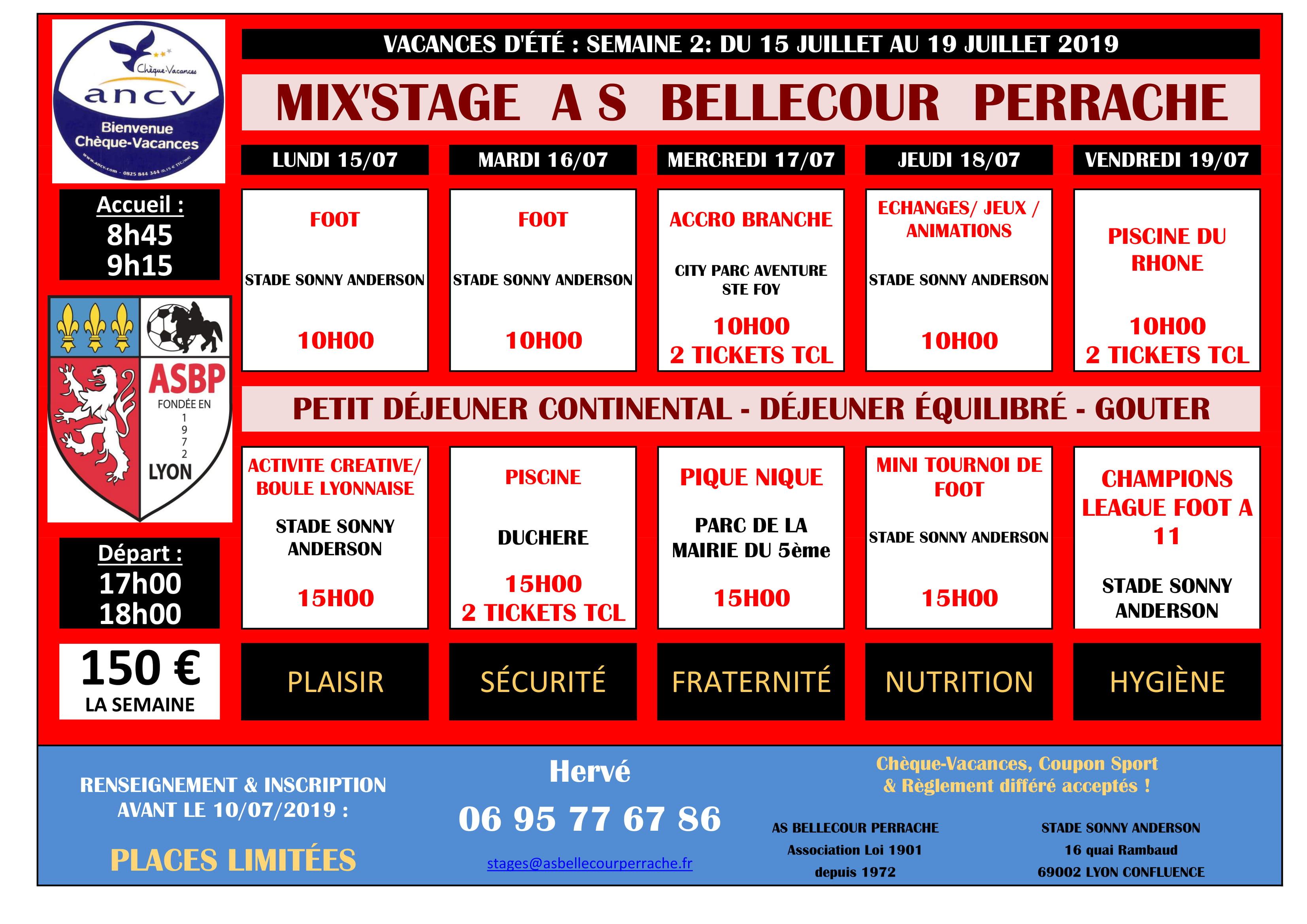 MIX'STAGE ETE 2019 DU 15/07 au 19/07/2019