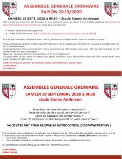 ASSEMBLEE GENERALE ORDINAIRE SAISON 2019/2020