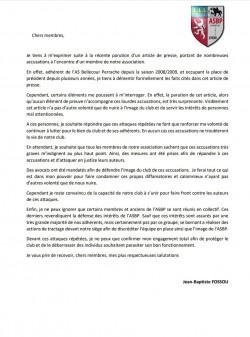 COMMUNIQUÉ DU CLUB SUITE AUX RÉCENTS ARTICLES DE PRESSES