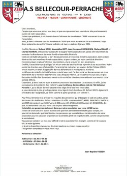 COMMUNIQUÉ DU CLUB SUITE À NOTRE ASSIGNATION EN JUSTICE